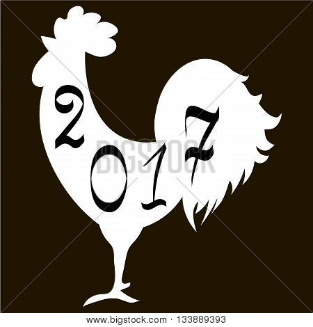 Icon fire rooster symbol of Chinese new year 2017. Flat design vector illustration icons and logos. black and white. The concept of a new year on the Chinese calendar