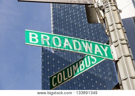 NEW YORK, USA - APRIL 21, 2016: Broadway street sign in NYC. With over 40 prominent theater houses Broadway theater is considered one of the world's highest levels of commercial theatre.