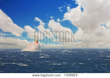Lighthouse In The Stormy Sea At Simons Town