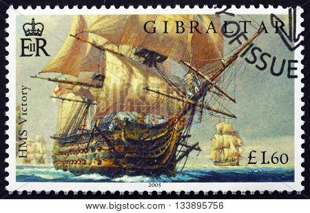 GIBRALTAR - CIRCA 2005: a stamp printed in the Gibraltar shows HMS Victory Battle of Trafalgar Bicentenary circa 2005