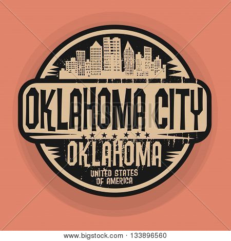 Stamp or label with name of Oklahoma, City Oklahoma, vector illustration