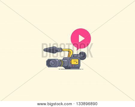 Video camera icon. Recording and playback. Icon for video blogging, reportage, video course, live stream and other media content. Vector flat outline illustration.