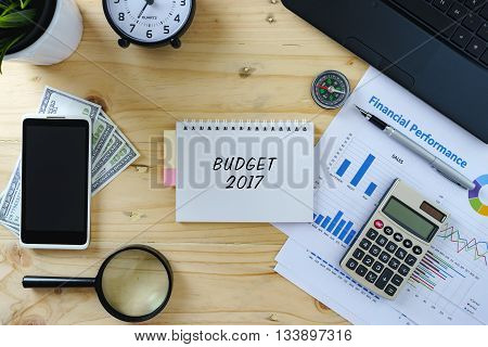 Business Concept.top View Of Working Table With Laptop, Calculator, Chart, Smartphone, Magnifying Gl