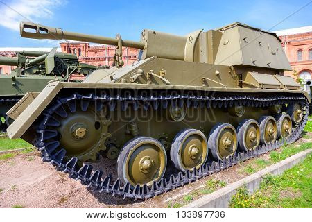ST. PETERSBURG RUSSIA - AUGUST 8 2015: Soviet self-propelled artillery installation of the Su-76 in Museum of Artillery in summer sunny day