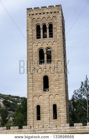Church of the Mare de Deu del Roser Our Lady of rosary Neo-Romanesque cultural heritage and place of worship. Monistrol de Montserrat Province of Barcelona Spain poster