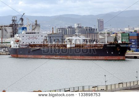 Barcelona Spain - September 26 2015: Miss Marina Chemical Tanker docked at the international port of Barcelona with a Gross Tonnage of 29814 t and 50895 t Deadweight