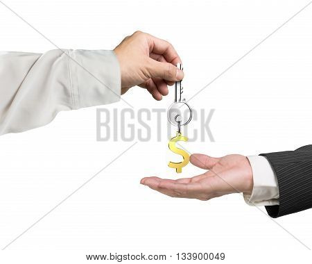 One Hand Giving Key Dollar Sign Keyring To Another Hand, 3D Rendering