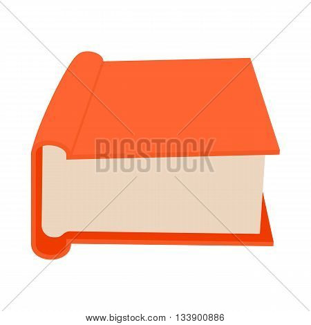 Closed big red book icon in cartoon style on a white background