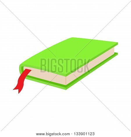 Green closed book with bookmark icon in cartoon style on a white background