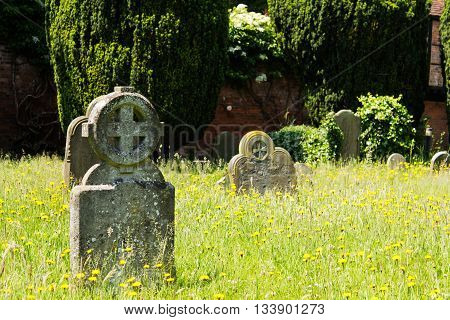 Grave stones outside a church in Beaconsfield Buckinghamshire England