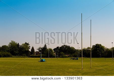 Empty rugby pitches in a local park