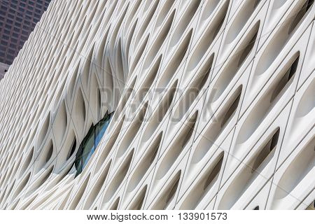 LOS ANGELES, CALIFORNIA - JUNE 5, 2016:  Side wall of The Broad, a contemporary art museum in Los Angeles, California, home to 2000 works of art in the Broad collection.