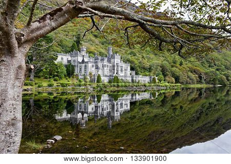 Kylemore Abbey, Co. Conemara, Ireland. Beautiful view to the castle.