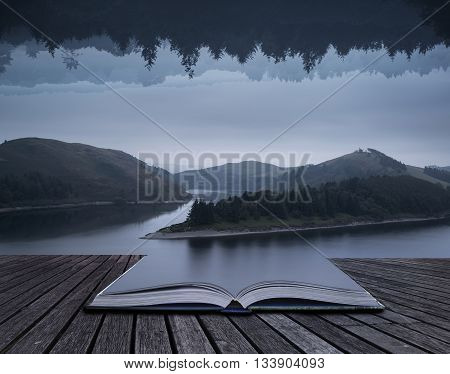 Stunning Impossible Puzzling Conceptual Landscape Image Of Lake And Forest Opposite Each Other Verti