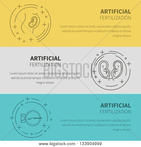 Set obstetrics and pregnancy in vitro fertilization. Flat line vector icons. Gynecology fertility birth of a child health symbols. test for pregnancy the fetus the uterus the embryo.