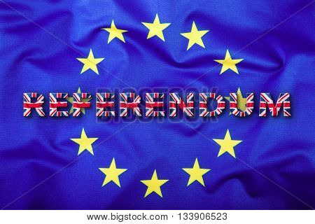 Referendum. Brexit. Flags of the United Kingdom and the European Union. UK Flag and EU Flag. British Union Jack flag. Flag outside inside stars. England appearances in the European Union. poster