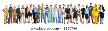 große Gruppe von Arbeitnehmern leute lächelnd. über white background