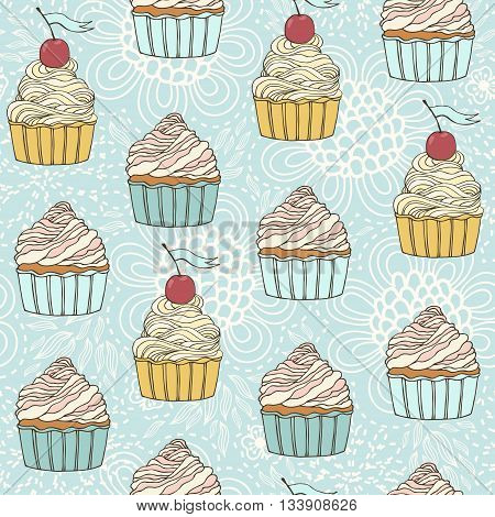 Seamless pattern with sweet detailed drawn cup cakes.