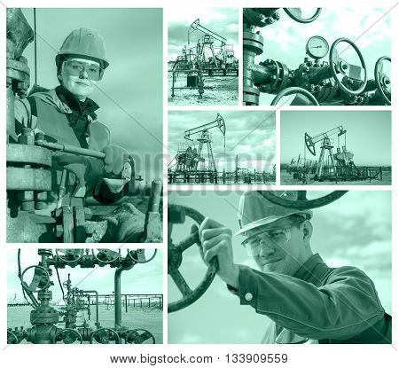 Collage consisting of pictures of pump jack well head man engineer near well head valve woman engineer repairing weel head. Oil and gas concept. Toned.