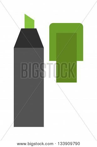 Colored marker highlighters vector. Marker on white background. Colored office marker supply pens in flat cartoon design style. Vector multi-colored markers