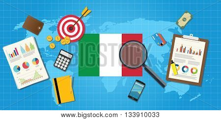 italy economy economic condition country with graph chart and finance tools vector graphic illustration