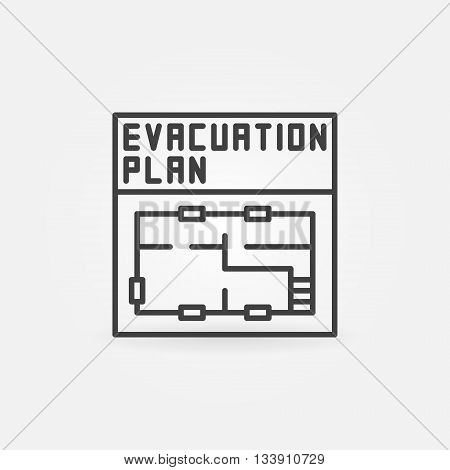 Evacuation plan icon - vector linear symbol or pictogram. Minimal thin line plan sign