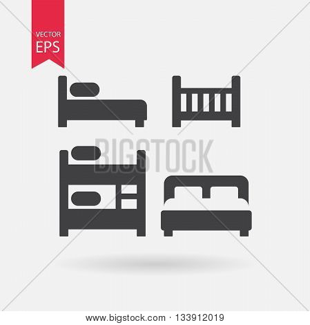 Bed icons set. Collection of of different black silhouette beds. Cribe, Double bed, Bunk Bed, Loft bed. Black Signs Isolated on white on background. Flat vector elements for you design, web, hotel or hostel