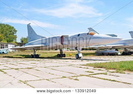 KYIV, UKRAINE - JULY 29 2006: Soviet bomber Tupolev Tu-22M (Backfire by NATO) displayed at Zhuliany State Aviation Museum in Kyiv Ukraine. Zhuliany State Aviation Museum is the largest aviation museum in Ukraine