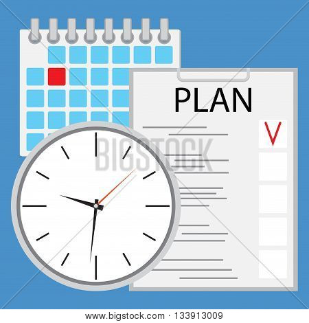 Planning and organization of time flat. Management time business illustration strategy vector plan agenda work