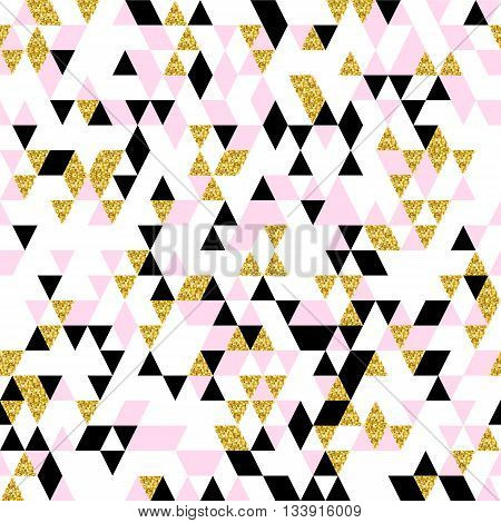 Moderm geometric seamless pattern. Trendy triangular background in gold, pastel pink, white and black colors. Abstract design for fashion, card, wrapping, cover, print and wallpaper. poster