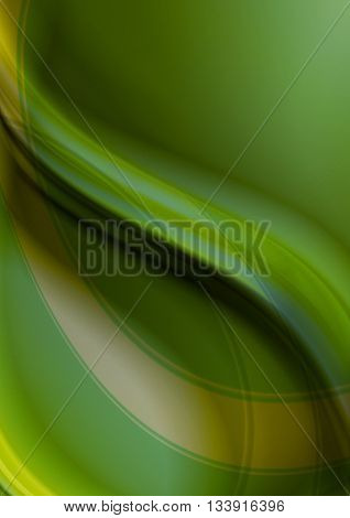 Abstract greenish yellow wavy background with yellow and green curve strips