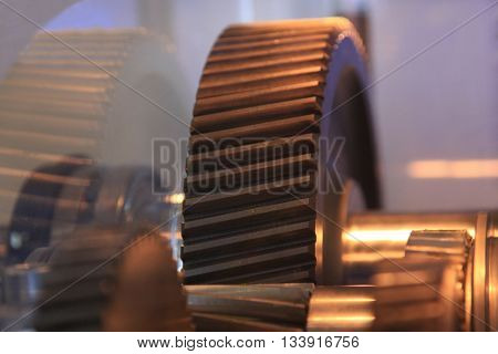 open helical gear in the gearbox closeup