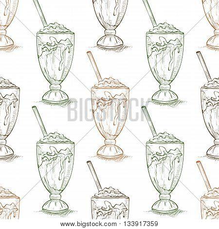 Seamless pattern vanilla milkshake scetch. Sketched fast food vector illustration. Background with drink for cafe, restaurant, eatery, diner, website or take away bag design
