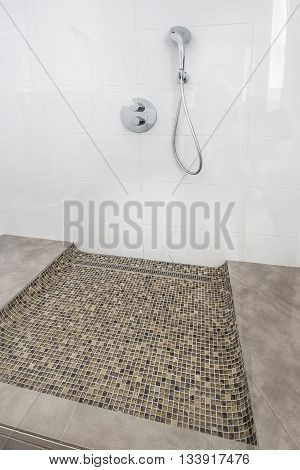modern glass shower cabin  in a apartment luxury interior