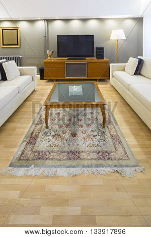 table in contemporary living room  in a apartment luxury interior