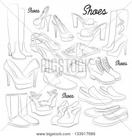 Set of different shoes for man and woman. Vector illustration, EPS 10