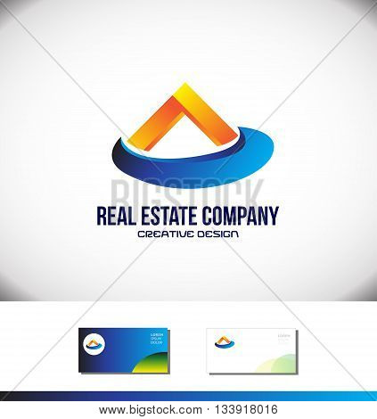 Vector company logo icon element template orange blue house roof real estate
