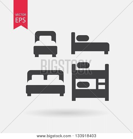 Bed icons set. Collection of of different silhouette beds. Double bed, Bunk Bed, Loft bed. Black Signs Isolated on white on background. Flat design vector elements for you design, web, hotel or hostel
