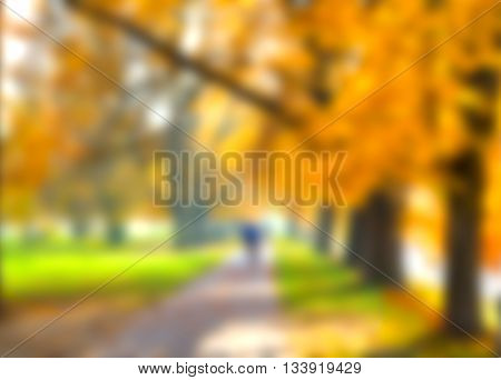 Abstract blur city autumn park, bokeh background
