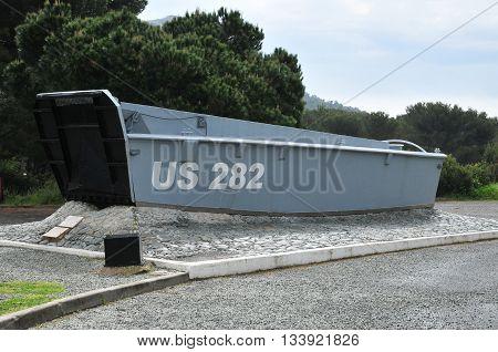 Saint Raphael; France - april 17 2016 : american barge of august 15 1944 landing