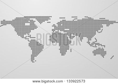 Dotted world map on gray gradient background. World map from black dots. Dots in shape of world map with continents.