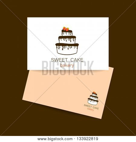 Business card design template. Sweet cake bakery shop logo template. logo cake. Logo for bakery. Logo design for confectionery, coffee shop, bakery shop. Vector illustration.
