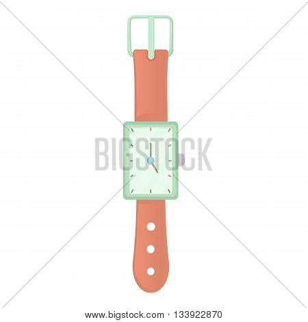 Wrist watch icon in cartoon style on a white background