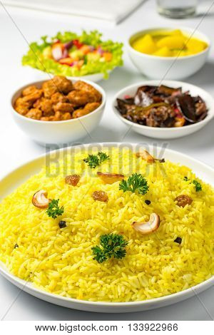 Yellow rice or kaha bath or rice and curry Sri Lankan food