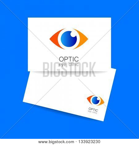 Ophthalmology business card. Optic eye clinic logo. Optic logo design template for medical care. Idea for ophthalmic clinic or eye clinic. Vector illustration.