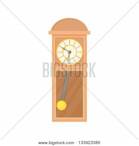 Grandfather clock icon in cartoon style on a white background