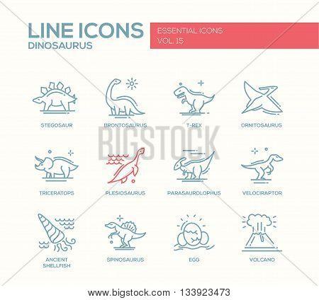 Set of modern vector plain line design icons and pictograms of dinosaurs species, prehistoric age life. Stegosaur, t-rex, brontosaurus, ornitosaurus, plesiosaurus, triceratops, velociraptor, spinosaurus
