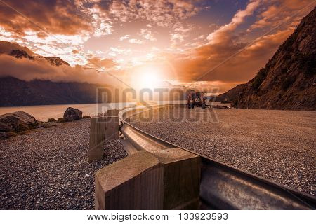 beautiful scenic look out of lake wakatipu queenstown south island new zealand