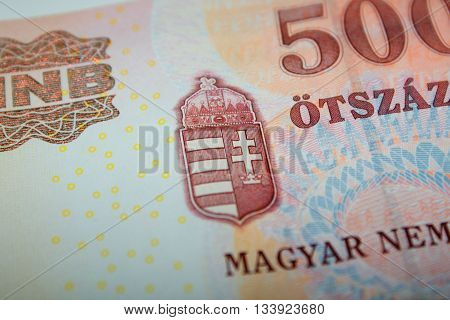 detail on Hungarian 500 Forint Banknote .