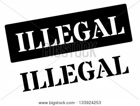 Illegal Black Rubber Stamp On White
